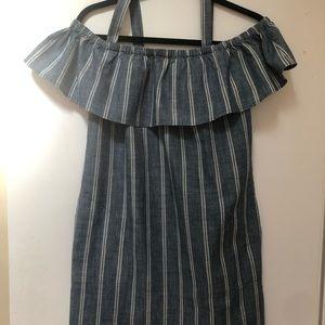 J Crew blue white striped off the shoulder dress